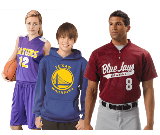 Image of screened team uniforms